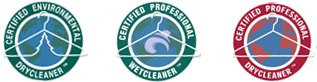 three dry cleaning certification logos, one for certified environmental drycleaner, one for certified professional wetcleaner, and one for certified professional drycleaner