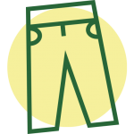 a green outline of a pair of pants symbol on top of a yellow circle